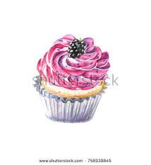 color drawing of a cupcake on a white background