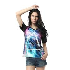 New 2014 Womens Summer T Shirt Women Triangle Galaxy Tops Woman Shirts Space Print