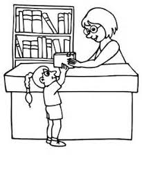 Library Clipart Black And Books Coloring Pages