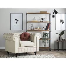 sessel beige polsterbezug eukalyptus chesterfield stil wohnzimmer