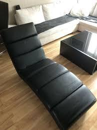 wohnzimmer liege sessel bequem kunstleder schwarz