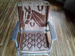 Webbed Lawn Chairs With Wooden Arms by Macrame Lawn Chair Recycled Frames Woven Lawn By Chairsandpens
