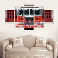 Firetruck Engine 5 Piece Canvas Wall Art – Vigor And Whim
