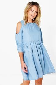 jessie open shoulder denim smock dress boohoo