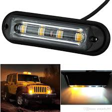 100 Strobe Light For Trucks 4 LED White Amber Waterproof Emergency Beacon Flash Caution
