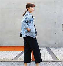 2016 South Korea Loose Pin Hole Bead Pearl Jeans Studded Out Ripped Fashion Trends Elegant Women Denim Basic Jacket In Jackets From Womens
