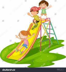 Vector Kindergarten Kids Playing Playground Clipart Outdoor Park Jpg