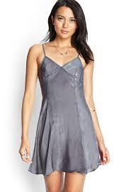 forever 21 flared satin slip dress in gray lyst