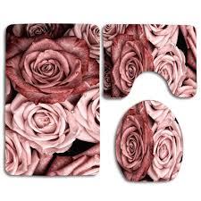 eczjnt pink roses badezimmer 3 teiliges badezimmerteppich set badteppich contour mat toilettendeckel abdeckung