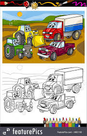 100 Trucks Cartoon Cars And For Coloring Book Illustration