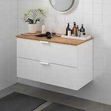 godmorgon tolken waschbeckenschrank 2 schubl weiß bambus 102x49x60 cm