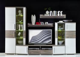 wohnwand jam 5tlg wohnzimmer set 300cm vitrine wandboard tv regal weiß eiche led