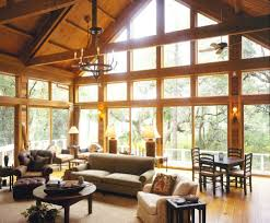 Great Room Windows Living Rustic With Vaulted Blade Ceiling Fans