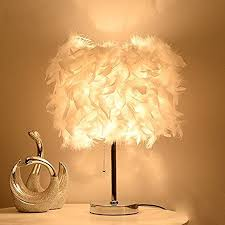 federn tischle deko licht mit weiße feder retro