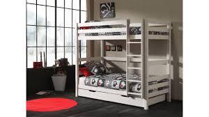 lit enfant superposé louison blanc 180 cm en pin naturel avec