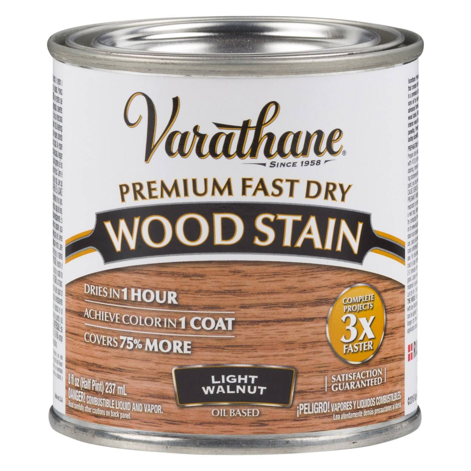 Varathane 262034 Fast Dry Oil Wood Stain - Half Pint, Light Walnut