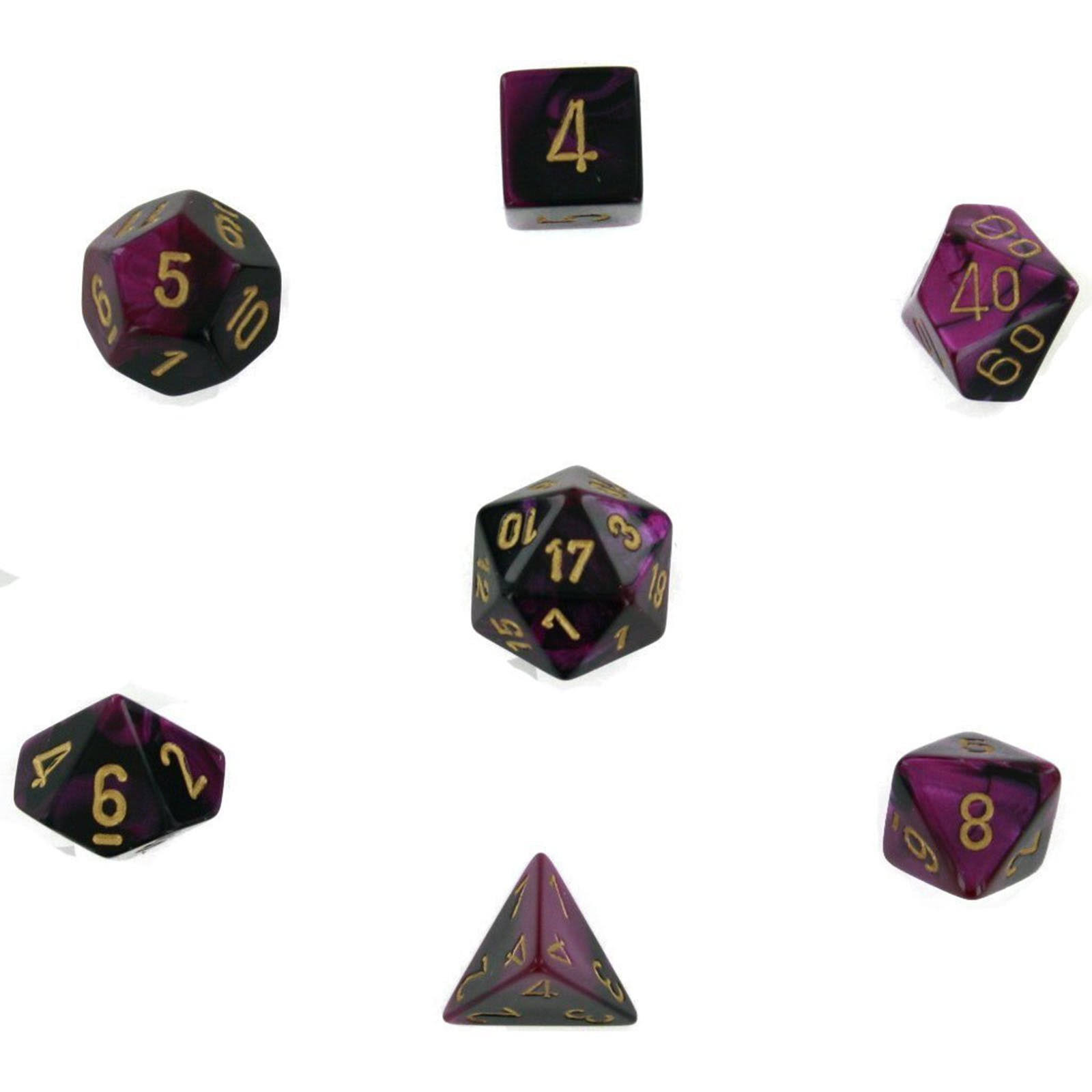 Chessex Die Set - Black, Purple and Gold