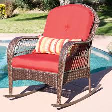 Outdoor Patio Chair Cushions Walmart by Wicker Rocking Chair Patio Porch Deck Furniture All Weather Proof