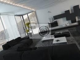 fototapete architectural wohnzimmer mit schwarzen möbel