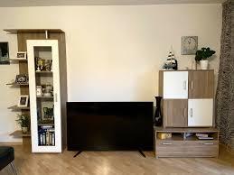 tv lowboard wohnzimmermöbel wand schrank holz braun weiß