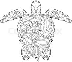 Stock Vector Of Sea Turtle With High Details Adult Antistress Coloring Page Hand
