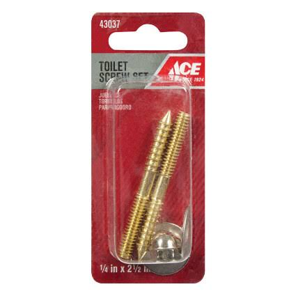 "ACE Toilet Screw Set - Bowl to Floor Mount, 1/4""x2-1/2"""