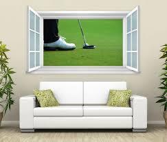 3d wandtattoo fenster golf schläger gras wand aufkleber wanddurchbruch wandbild wohnzimmer 11bd1562 wandtattoos und leinwandbilder günstig