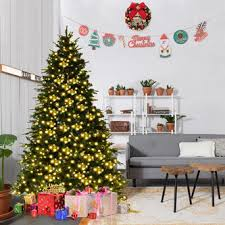 Goplus 7Ft Pre Lit Artificial Christmas Tree Hinged W 460 LED Lights