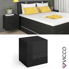 vicco nachttisch schwarz hgl led nachtschrank kommode schlafzimmer