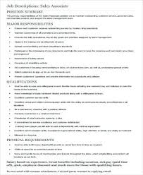 sle resume of retail sales associate sales associate
