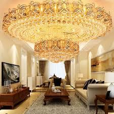 led deckenleuchte kristall rund in golden für wohnzimmer