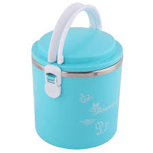 School Office Tree Pattern Cylinder Food Storage Holder Lunch Box Blue 1600ml 0