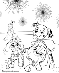 PAW Patrol 4th Of July Coloring Pages Marshall Underwater