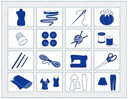 Sewing Tailoring Knit Crochet Icons Tools And Supplies For