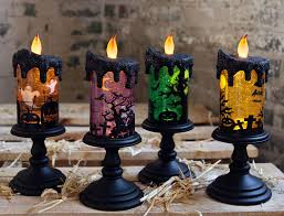Halloween Flameless Taper Candles by Skeletons Lighted Halloween Spinning Water Globe Battery