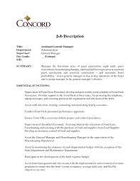 Front Desk Job Resume by Hotel General Manager Job Description Resume Job Descriptions