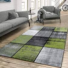 t t design teppich wohnzimmer modern kariert meliert grau schwarz grün größe 60x100 cm