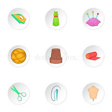 Sewing Supplies Icons Set Cartoon Style Stock Vector Image