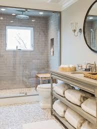 custom bathroom using grey glass subway tile shower tile https