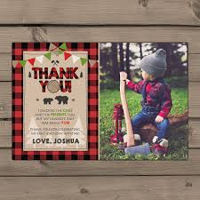 Rustic Lumberjack Themed Thank You Card By Anietillustration