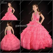 baby girl wedding dress halter beaded tiered pink organza