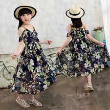 2017 Asymmetrical Girls Dress Bohemian Style Child Girl Chiffon Floral Beachwear Kids Summer Clothes