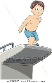 Clipart Of Kid Boy Hesitate Jump Dive Board K41088825