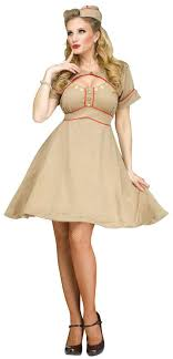 Womens Retro 1940s Army Gal Costume