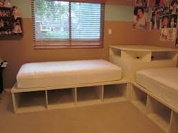 Build Twin Beds with Corner Unit — Modern Storage Twin Bed Design