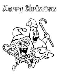 Spongebob Squarepants And Patrick Star On Christmas Day Coloring Page