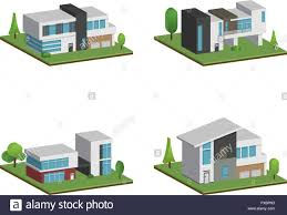 100 Four Houses Set Of Isometric Four Houses And Modern Houses Design 3D Modern
