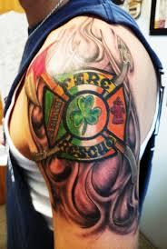 Irish Firefighter Tattoo Shoulder