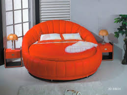 White Leather Cheap Round Bed Sale Romantic Bedroom