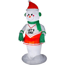 Walmart Inflatable Halloween Cat by Airblown Animated Snowgirl Cheerleader Inflatable 6 Foot Tall
